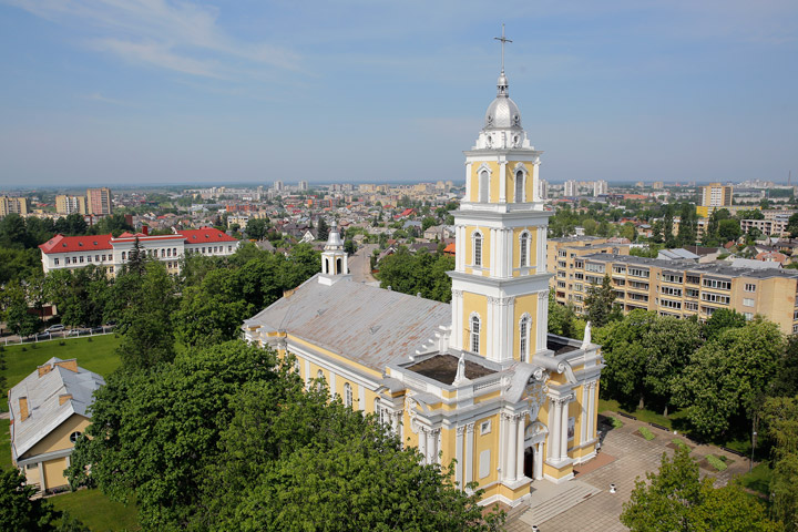 The exterior of panev ys cathedral cathedral of christ the king in panev ys